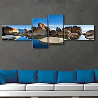 E-HOME® Stretched Canvas Art Stone Scenery Decorative Painting Set of 4 | LightInTheBox