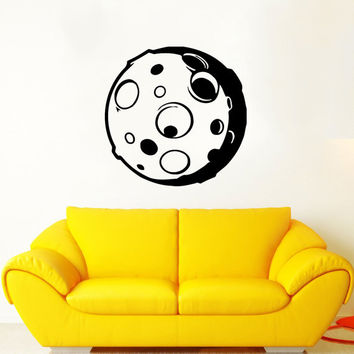 Moon Wall Decal Moon Space Decals Vinyl Sticker Interior Home Decor Vinyl Art Wall Decor Bedroom Nursery Baby Kids Children's Room SV5905