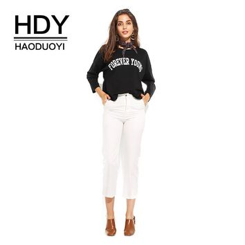 Long Hollow Out Sleeve T-Shirt Women Black Letter Printed Street Wear O-Neck Casual Top Cut Out Preppy Basic Tees