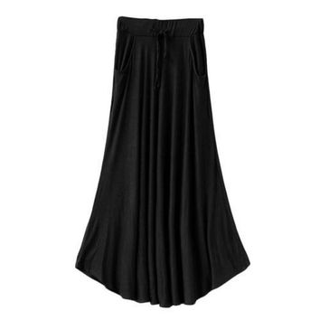 Plus Size Women High Waist Maxi Skirts Casual Pure Color Flare Long Dress