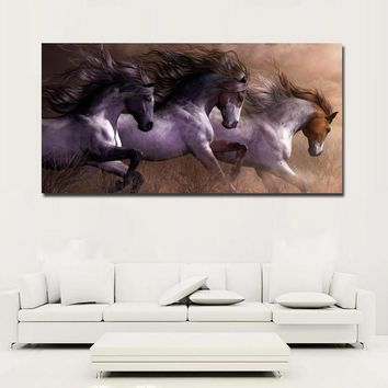 Modern Animal Wall Art Pictures For Living Room Home Decor Canvas Painting The three Running Horse vintage art painting No Frame