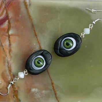 SALE Halloween Goth GREEN  Earrings Creepy Eyes  Pale Lady Skulls Black Polymer  Clay Scandinavian Swedish  OOAK contemporary art