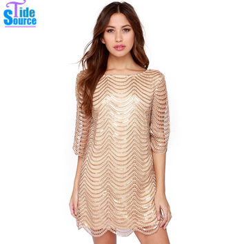 TideSource Fashion Striped Women Dress 2016 Sexy Backless Scoop Neck Mini Summer Dress Shiny Sequined Short Casual Party Dresses
