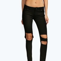 Evie Low Rise Ripped Knee Jeans
