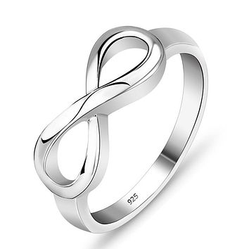 925 Sterling Silver Infinity Ring Eternity Ring Charms Best Friend Gift  Endless Love Symbol Fashion Rings For Women