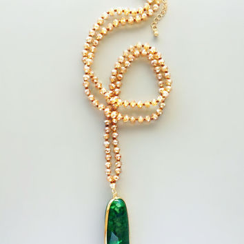 Amirah Emerald Polished Quartz Necklace