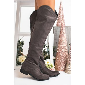 Status Update Knee High Boots (Charcoal)