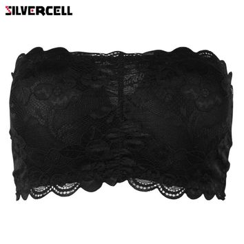 Women Sexy Lace Strapless Bras Full Cup Bandeau Padded Tube Tops for Women Girls