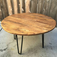 Old fart circular reasoning coffee table, reclaimed wood, craft furniture, mid century Modern, vintage, rustic,