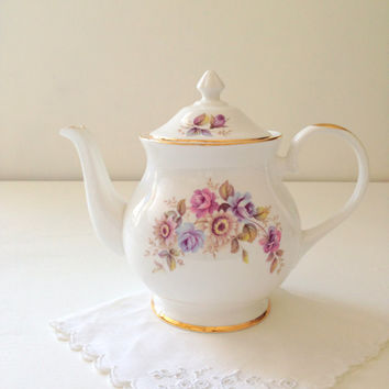 Vintage English Royal Grafton Fine Bone China 4 Cup Teapot Tea Party Decor Cottage Style Decor - c. 1957 - 1960