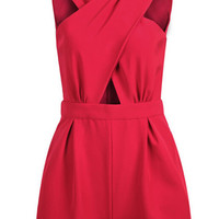 Cross Design Front V-Neck Sleeveless Romper