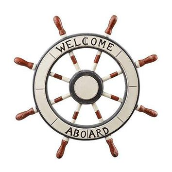 """Welcome Aboard"" Nautical Ship Steering Wheel Wall Decoration"