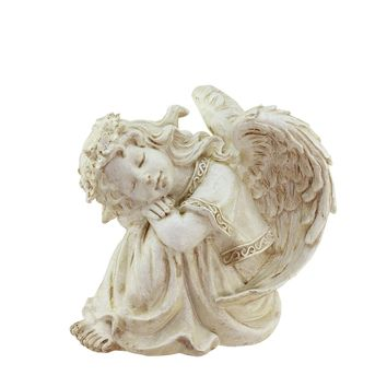 "8.5"" Heavenly Gardens Distressed Ivory Religious Resting Angel Outdoor Patio Garden Statue"