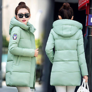 Women Winter Fashion Long Sleeve Padded Down Coat with Hat [9378740612]