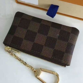 DCCKB62 LV Louis Vuitton Fashion Casual Monogram Canvas Key Pouch Brown G
