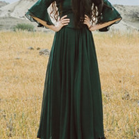 Green Chiffon Maxi Dress