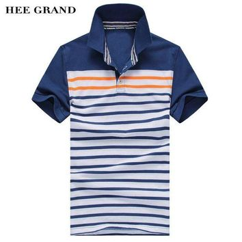 MDIGOK5 Summer Style Men's Polo Shirt Fashion Striped Design Tops Blue & Red 2 Colors