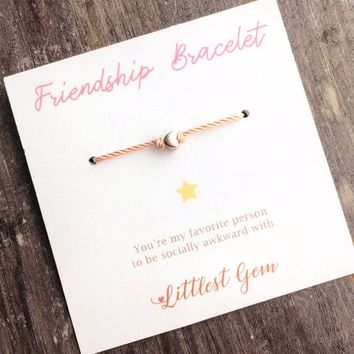 Birthday Gift, Best Friend Gift, Friendship Bracelet, Funny Birthday Card, Wish Bracelet, Rose Gold