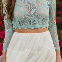 Carrie Mint Lace Top