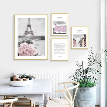 Quadro Paris Wall Art Print Pink Rose Pictures Canvas Painting Wall Pictures For Living Room Nordic Decoration Home Unframed