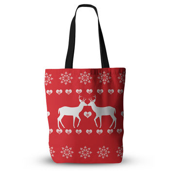 "Suzanne Carter ""Christmas Deer 2"" Holiday Pattern Everything Tote Bag"