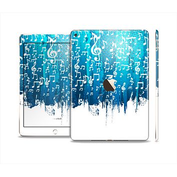 The Dripping Blue & White Music Notes Skin Set for the Apple iPad Air 2