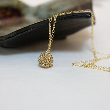 Floating Gold Pave Ball Necklace, Crystal Ball Choker, Women's Dainty Elegant Jewelry