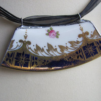 """Handmade Broken China Jewelry, Paragon """"Vintage China Rescue"""" Necklace OOAK"""