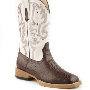 Roper Kids Boot Western Sqtoe Faux Leathr Sole Boots Brown Faux Ostrich W White Shaft