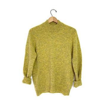Vintage Wool Mock Neck Sweater. Chartreuse Green Marled Sweater. 1950s Wool Pullover Womens Mens Sweater Unisex Grunge Medium Large