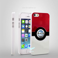 New Pokemon Ball Pokeball  Style Hard Skin Plastic White Case Cover for iPhone 4/4s 5/5s 5c 6/6 Plus