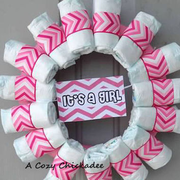 Pink Chevron Baby Diaper Wreath