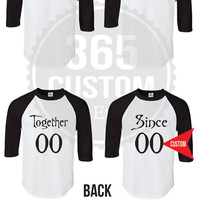 King and Queen Unisex Raglan Tee (Custom Number) Couple Shirts SET OF 2
