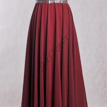 Long Burgundy Backless Prom Dresses,Burgundy Beaded Prom Dresses,Long A Line Chiffon Homecoming Dresses,Bridesmaid Dresses