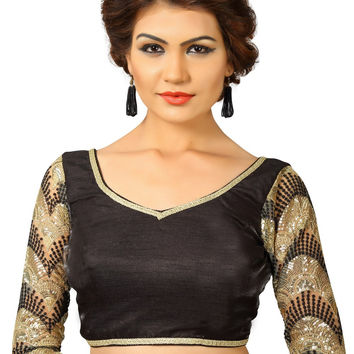 Black Dupion Silk Fancy Back Open Saree Blouse Choli SNT-X-392