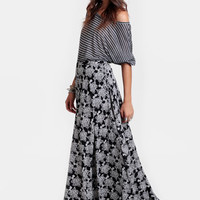 Shadow Play Floral Maxi Skirt