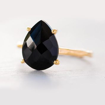 Black Onyx Ring, Silver Black Stone Ring, Gemstone Ring, Solitaire Ring,