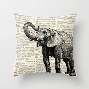 Throw Pillow Cover Elephant on a Vintage Dictionary Page - 16x16, 18x18, 20x20 - Home Décor by CARTISIM
