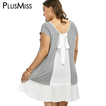 Plus Size 5XL Bowknot Chiffon Patchwork T Shirt Dress Women Casual Big Size Tee Shirt Grey Short Sleeve Loose T-shirt Dress