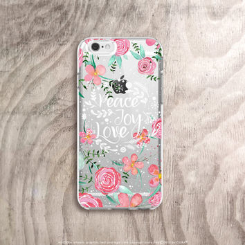 Quote iPhone 6s Case Floral iPhone 6s Plus Case Clear iPhone Case Christmas Quote iPhone Case Clear Samsung Galaxy S6 Case Christmas Floral