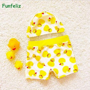 Baby swimwear with swimming cap Yellow Duck swimming trunks for boys Pool bathing suit for girls Children Bather 1-10 Years