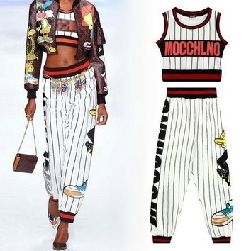 Women Fashion Crop Tank Top Harem Capri Pants Ladies Street Style Harajuku Sexy Outfit Stripe Cartoon Cute 2 Two Piece Set Woman
