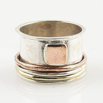 Spinner Ring - Three Tone Rimmed Edge Square Enhancement - keja Jewelry