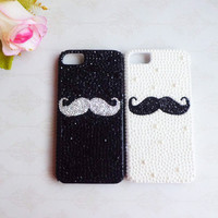 Black and white matte rhinestone mustache case for Apple iPhone 5---High quality case