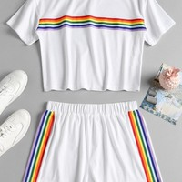 Striped Patched Shorts Set