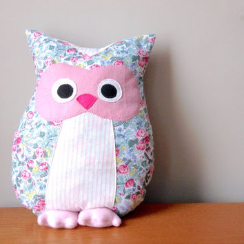 Pink and Floral Owl Pillow, Owl Decor, Animal Pillow, Owl Plush, Plush Owl, Girl Nursery Decor, Baby Shower Gift, Baby Gift, Girl Room Decor