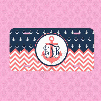 Custom License Plate -  Coral Chevron Car Tag - Personalized Car Tag Monogram License Plate