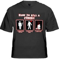 How To Kill A Zombie T-Shirt #1254 (Mens X-Large, Black)