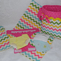 Chevron Print Diaper Bag Set for Dolls - Includes Bag, Diapers, Changing Pad, Burp Cloth, Wipes Case and Wipes, Fits Bitty Baby, Baby Stella