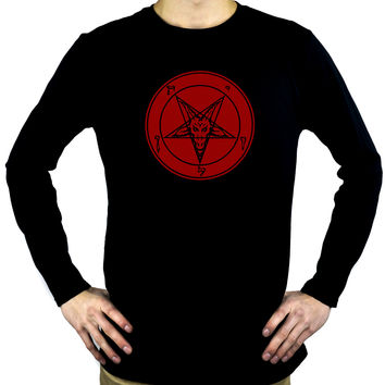 Solid Red Inverted Pentagram Sabbatic Goat Men's Long Sleeve T-Shirt Black Metal